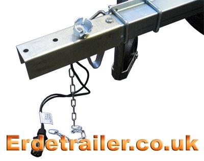 Drawbar adaptor plate, plug holder and chain